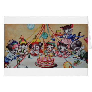 Vintage Cat And Dog Party Birthday Card