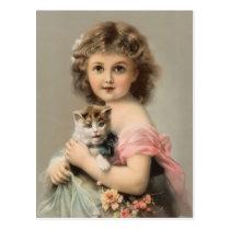 Vintage cat and girl postcard