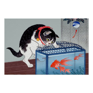 Vintage Cat and Goldfish Art Poster Print