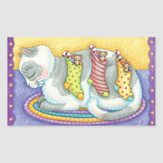 Vintage Cat And Mouse Christmas Stickers