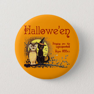 Vintage Cat and Owl Button