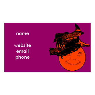 Vintage Cat and Witch on a Broomstick Business Card Template