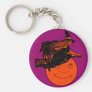 Vintage Cat and Witch on a Broomstick Key Chain