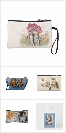 Vintage Cat Art Bags and Purses