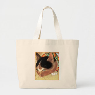 "Vintage Cat Art: ""Curious Kitty Cat"" Large Tote Bag"