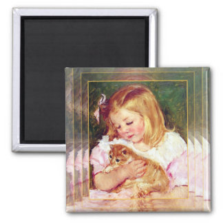 """Vintage Cat Art:  """"Girl Holding A Cat"""" 2 Inch Square Magnet"""