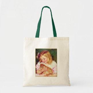 "Vintage Cat Art:  ""Girl Holding A Cat"" Budget Tote Bag"