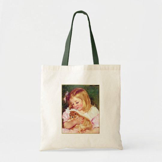 "Vintage Cat Art:  ""Girl Holding A Cat"" Tote Bag"