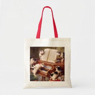 Vintage Cat Art:  Kittens' Recital Budget Tote Bag