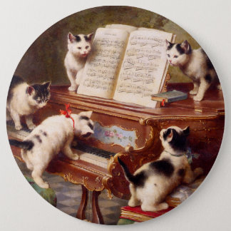 Vintage Cat Art:  Kittens' Recital Button