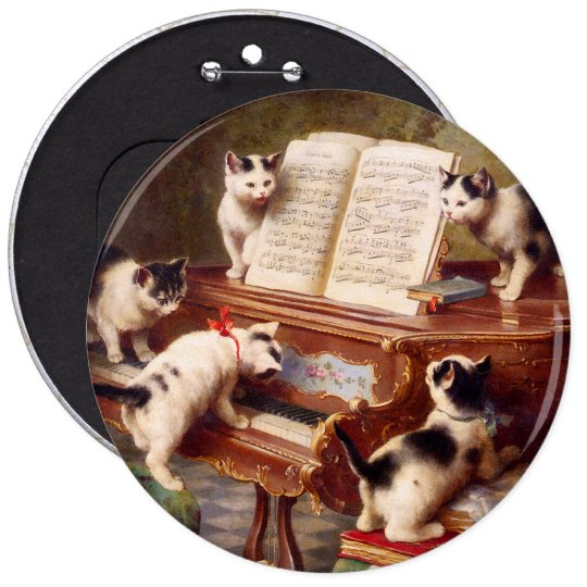 Vintage Cat Art:  Kittens' Recital Button