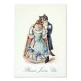 Vintage Cat Art Wedding Anniversary Invite