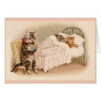 Vintage Cat Bedtime Story Note Card