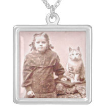 Vintage Cat BFF Photo Necklace
