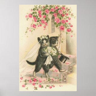 Vintage Cat Bride And Groom Wedding Poster