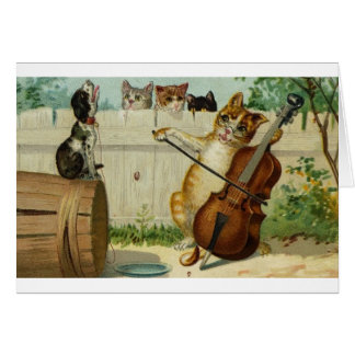 Vintage Cat Cello Concerto Note Card