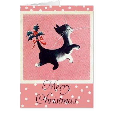 Christmas Themed Vintage Cat Christmas Card