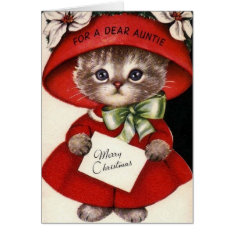 Vintage Cat Christmas Card For Aunt at Zazzle