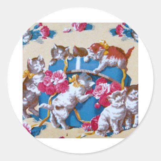 Vintage Cat Classic Round Sticker
