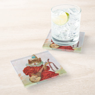 Vintage Cat Clown Suit Playing Mandolin Glass Coaster