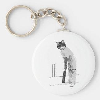 vintage cat cricketer basic round button keychain