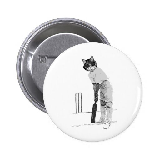 vintage cat cricketer pinback buttons