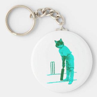 vintage cat cricketer green turquoise basic round button keychain