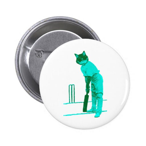 vintage cat cricketer green turquoise pins