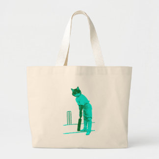 vintage cat cricketer green turquoise large tote bag
