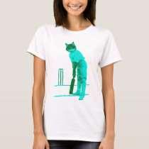 vintage cat cricketer green turquoise T-Shirt