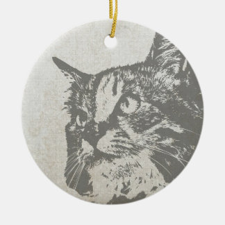 Vintage cat design Christmas ornament