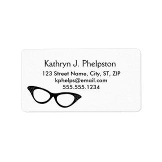 Vintage Cat-eyes Black Glasses Address Label