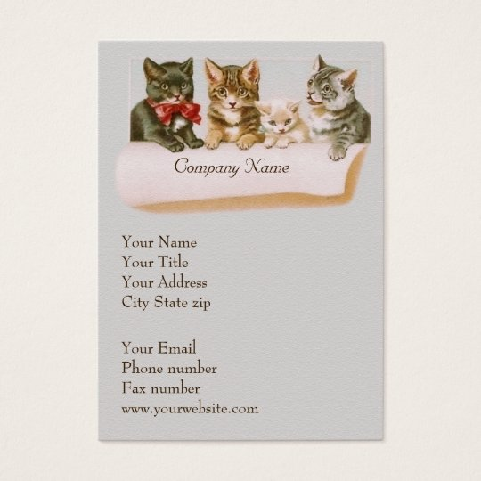 Vintage cat family business card zazzlecom for Family business cards