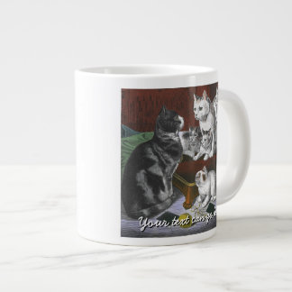 Vintage Cat Family Giant Coffee Mug