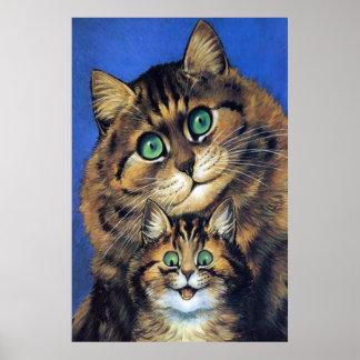Vintage Cat Family Portrait Poster Print