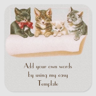 Vintage Cat Family Sticker
