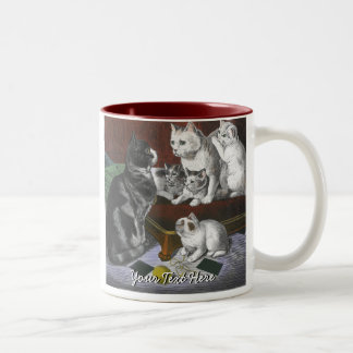 Vintage Cat Family Two-Tone Coffee Mug