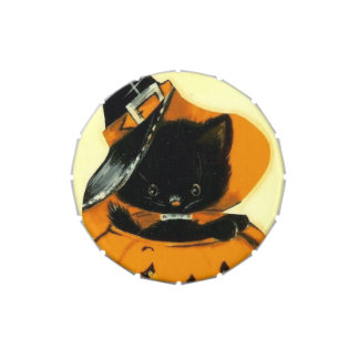 Vintage Cat Halloween small snip snap tin Jelly Belly Candy Tins