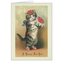"""""""Vintage Cat Happy New Year"""" Greeting Card"""