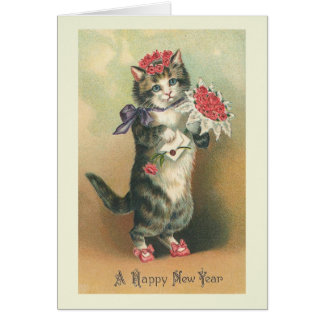 """Vintage Cat Happy New Year"" Greeting Card"