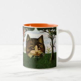 Vintage Cat Head (Cheshire Cat) Two-Tone Coffee Mug