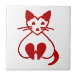 Vintage Cat Heart Ceramic Tile Pet Accent Shop