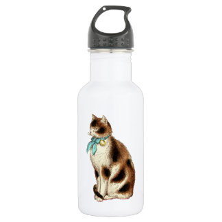 Vintage Cat Illustration Stainless Steel Water Bottle