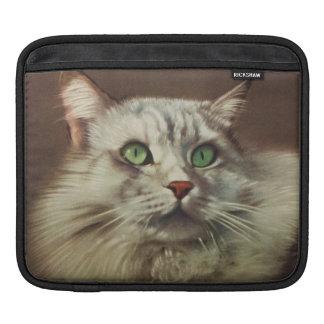 Vintage Cat Illustration, White Feline iPad Sleeve