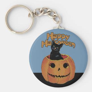 Vintage Cat in Jack'o'Lantern Keychain