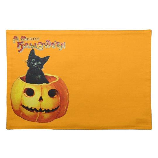 Vintage Cat in Pumpkin Cloth Placemat