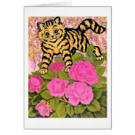Vintage Cat in the Rose Bush Card by Louis Wain