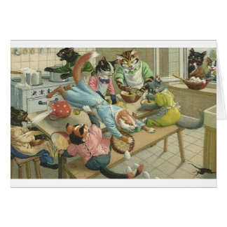 Vintage Cat Kitchen Chaos Note Card