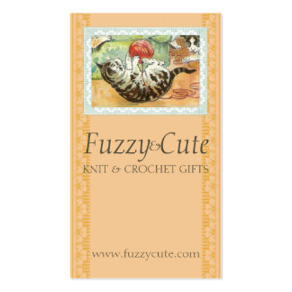 Vintage cat kitten playing w yarn knitting crochet business cards