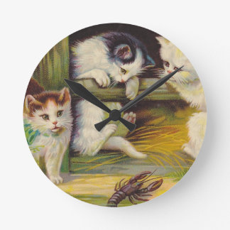 Vintage Cat Kittens Barnyard Play w Crawdad Clock